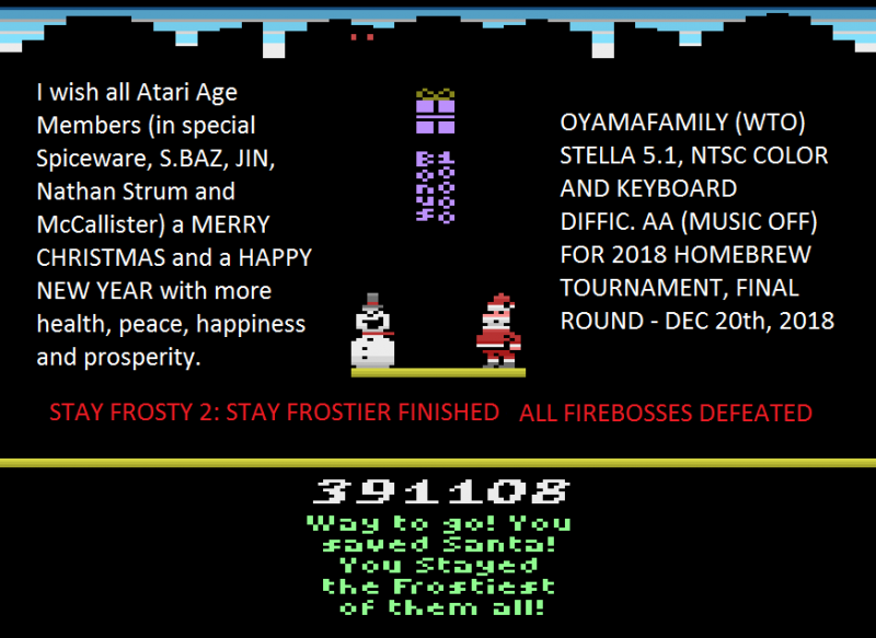oyamafamily: Stay Frosty 2: Stay Frostier (Atari 2600 Emulated) 391,108 points on 2020-09-20 13:01:31