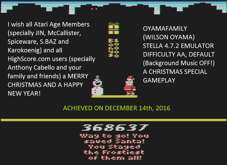 oyamafamily: Stay Frosty 2: Stay Frostier (Atari 2600 Emulated) 368,637 points on 2016-12-17 17:54:49
