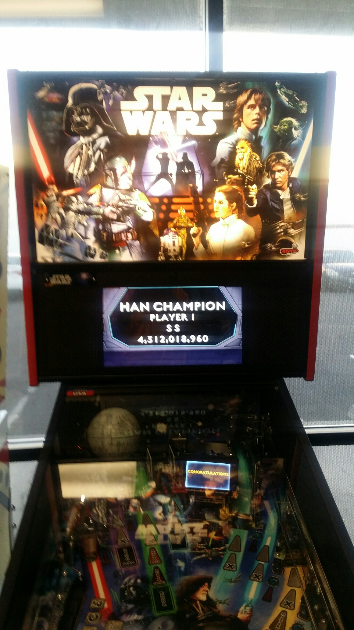 Stern Pinball: 2017 - Han Champion 4,312,018,960 points