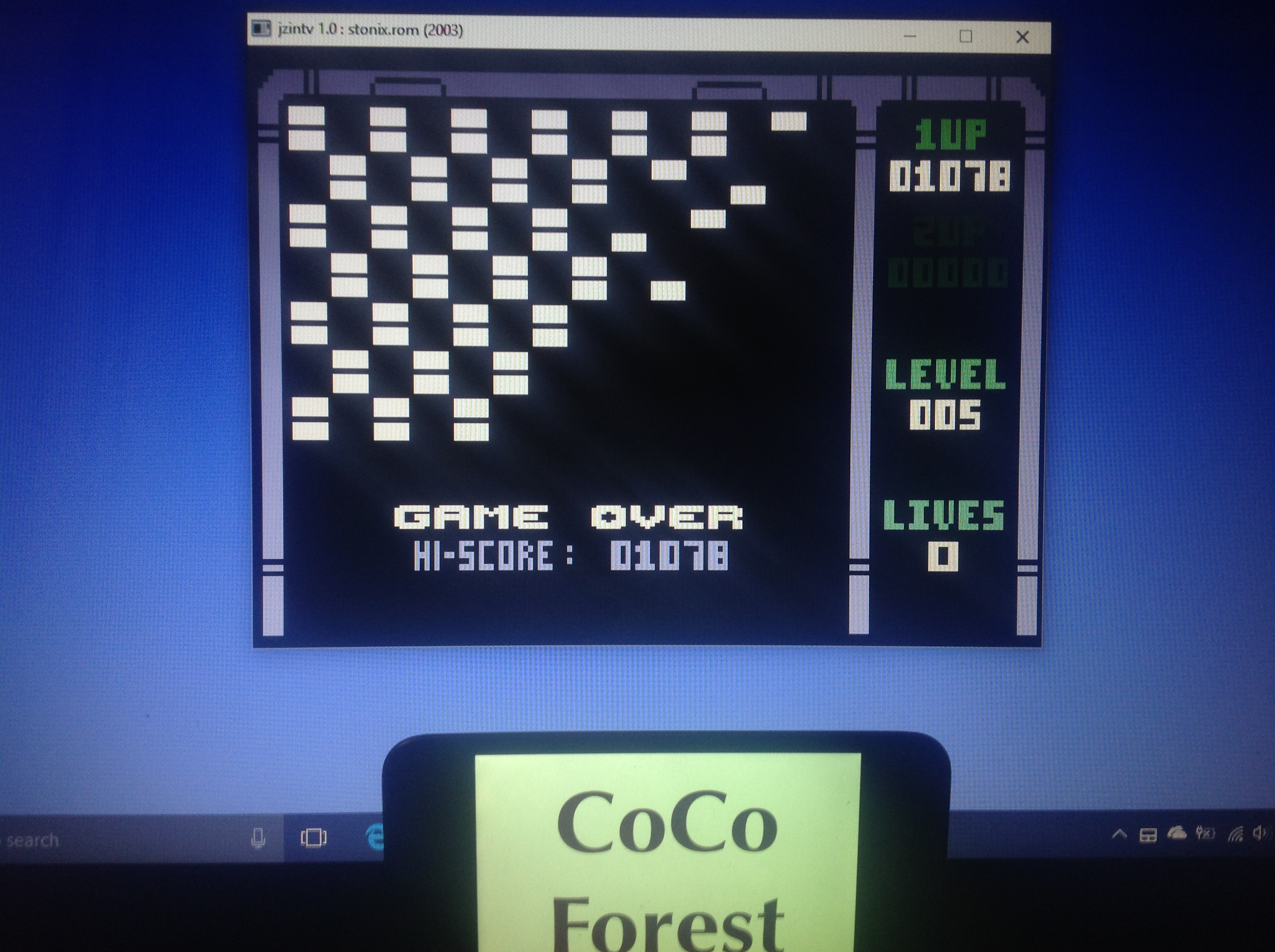 CoCoForest: Stonix (Intellivision Emulated) 1,078 points on 2018-01-24 08:15:14