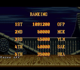 Street Fighter 2 Turbo: Hyper Fighting: Normal 1,091,200 points