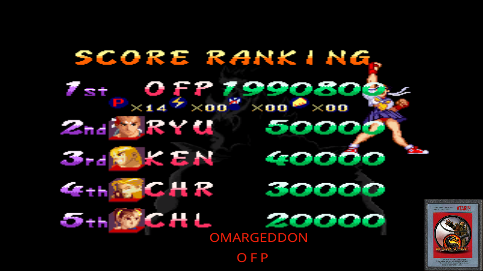 omargeddon: Street Fighter Alpha 2 [Difficulty 1] (SNES/Super Famicom Emulated) 1,990,800 points on 2017-06-15 09:57:53