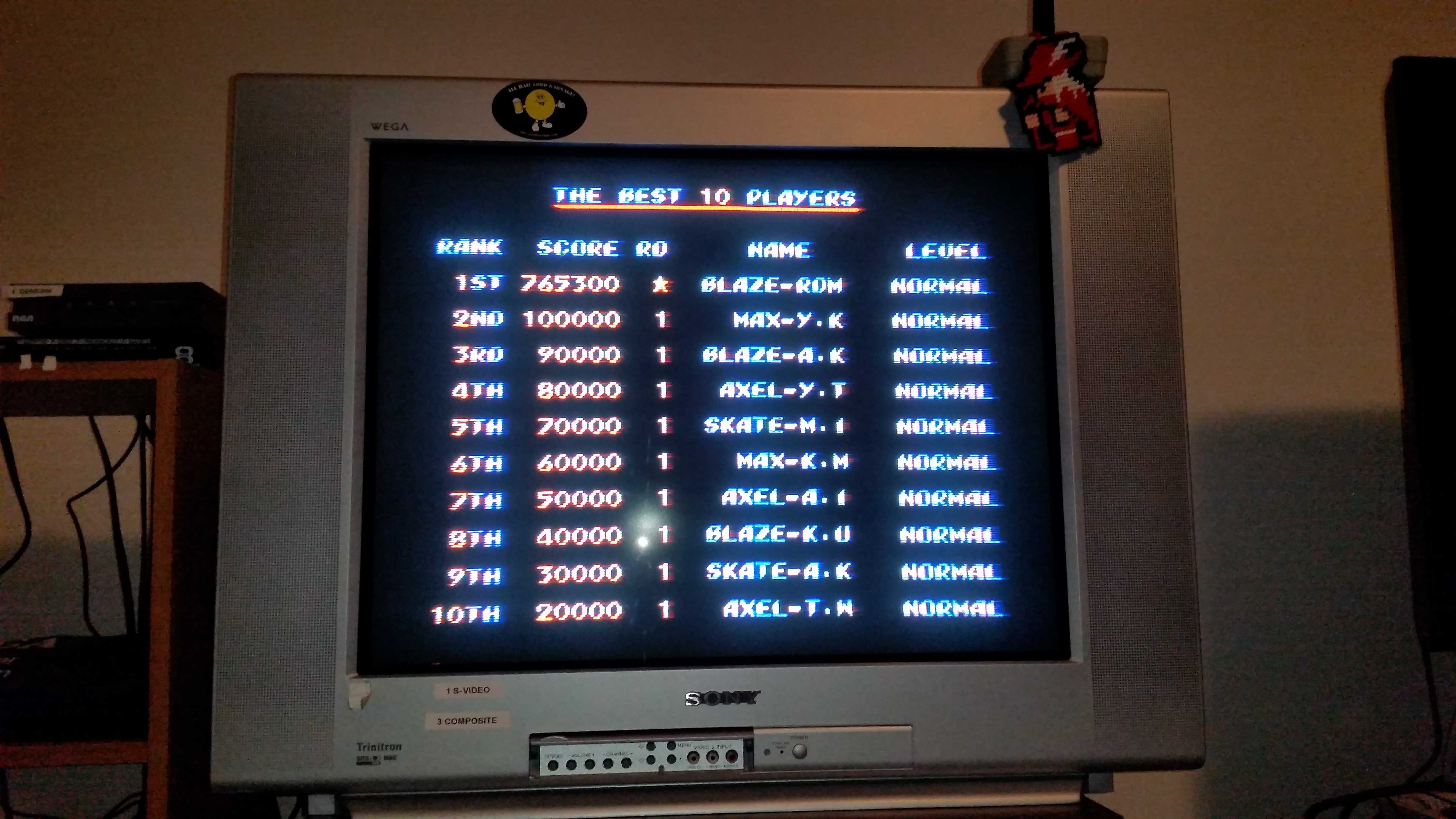 Streets of Rage 2: Normal 765,300 points
