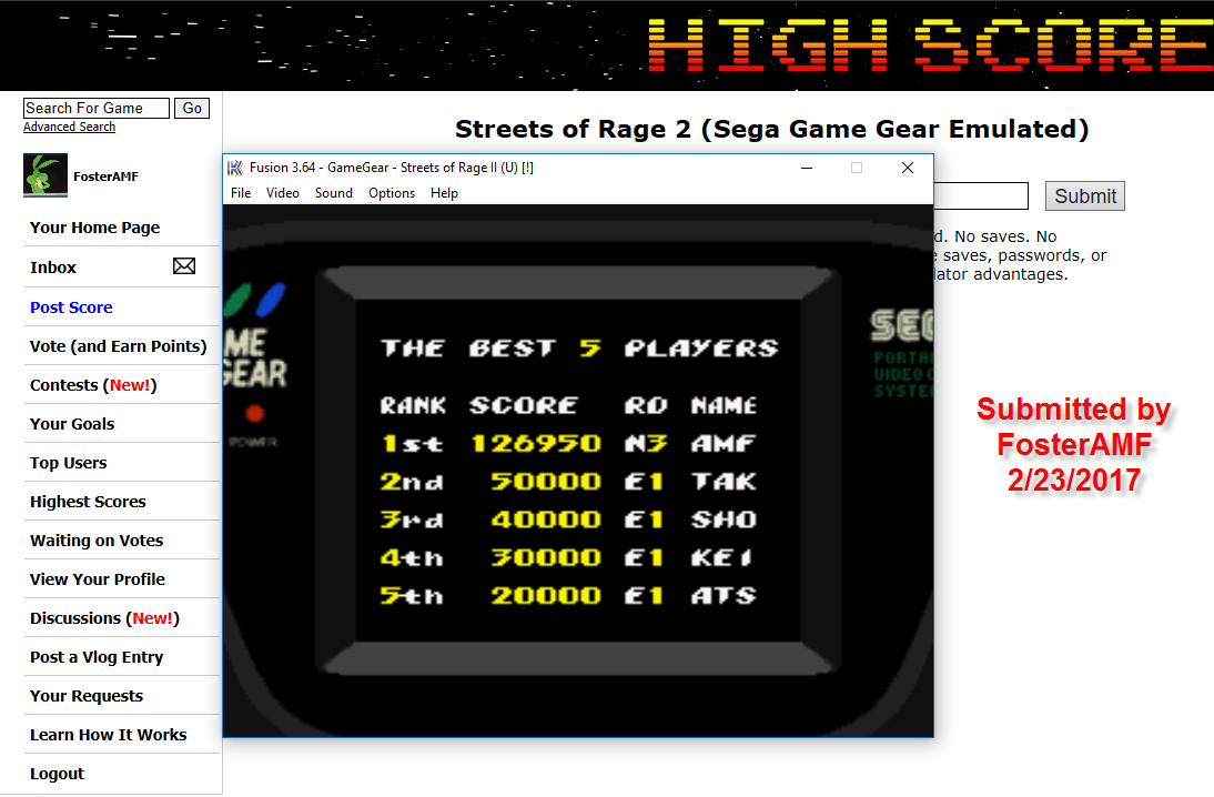 FosterAMF: Streets of Rage 2 (Sega Game Gear Emulated) 126,950 points on 2017-02-23 02:16:11