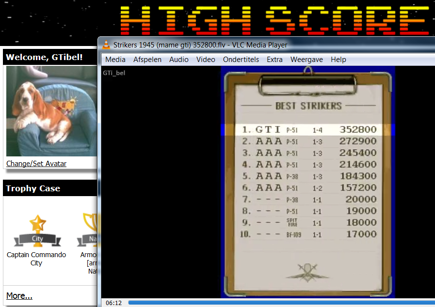 Strikers 1945 352,800 points