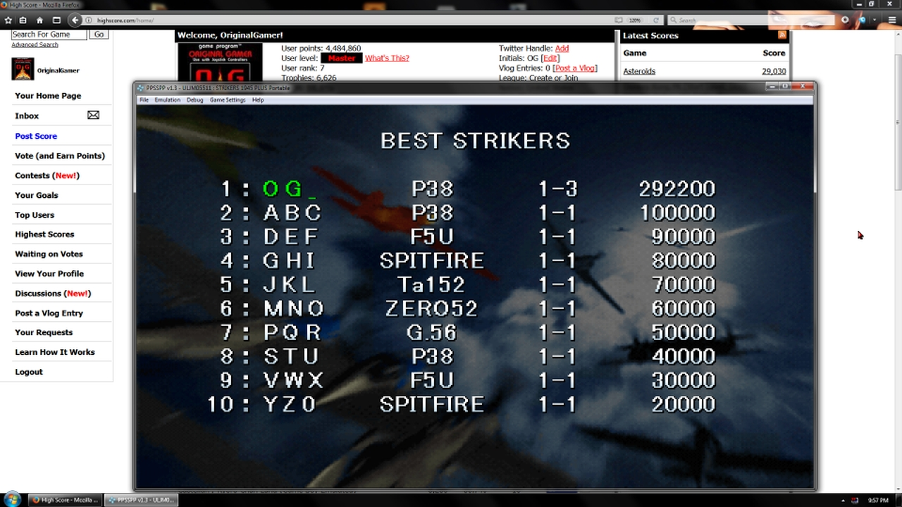 OriginalGamer: Strikers 1945 Plus (PSP Emulated) 292,200 points on 2018-01-30 21:57:58