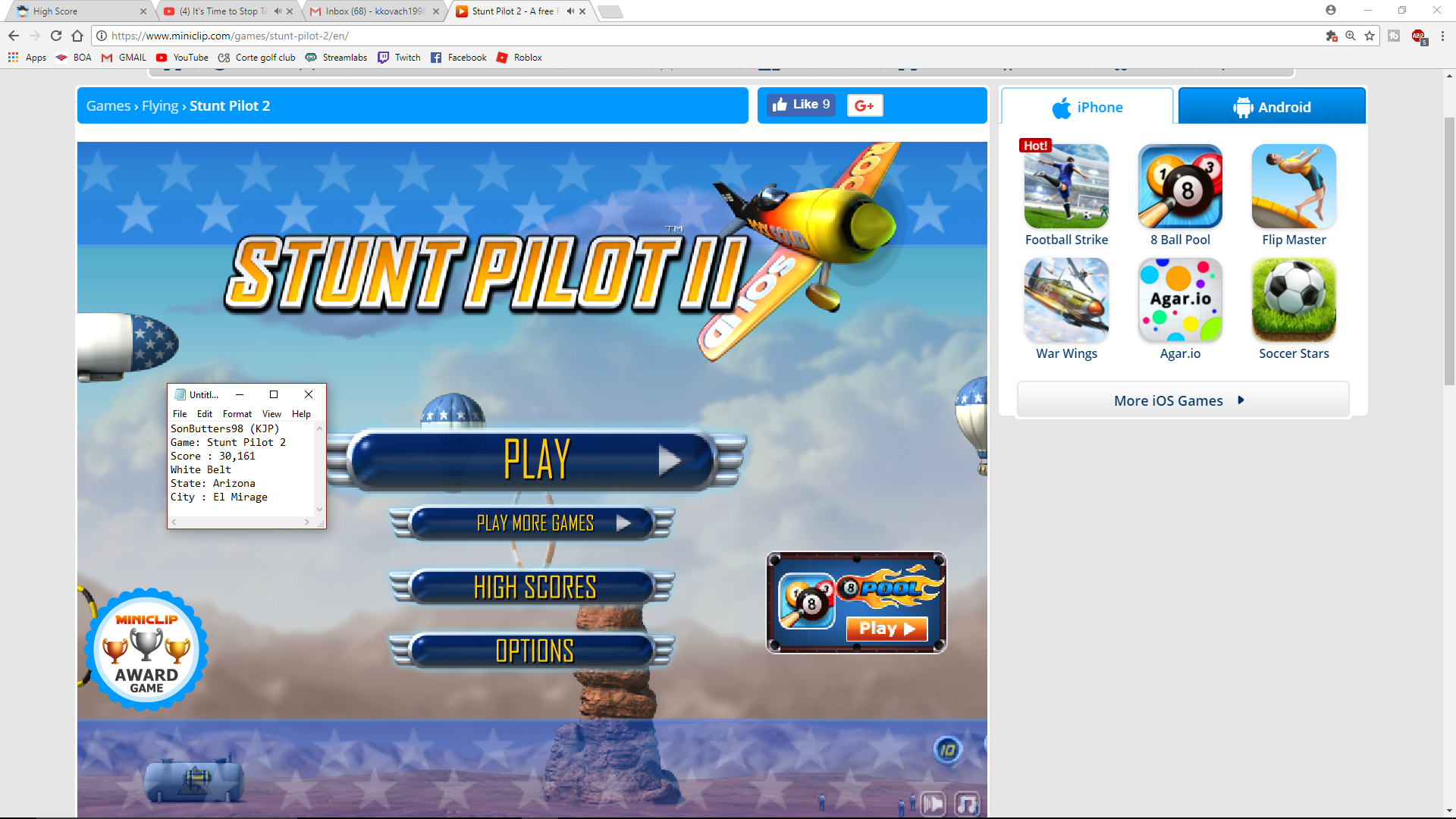 SonButters98: Stunt Pilot 2 (Web) 30,161 points on 2017-10-28 15:03:29