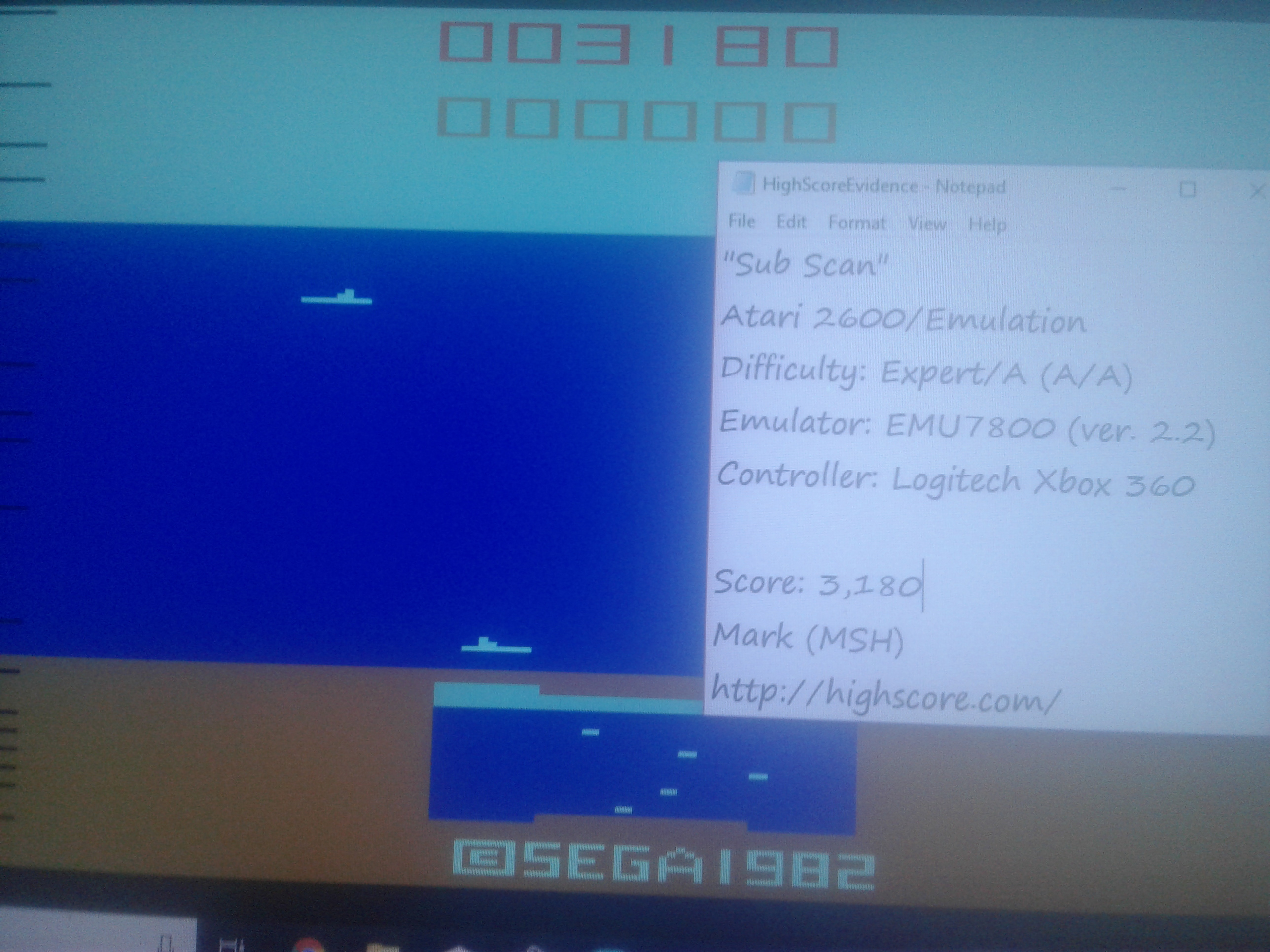 Mark: Sub Scan (Atari 2600 Emulated Expert/A Mode) 3,180 points on 2019-02-11 01:46:35