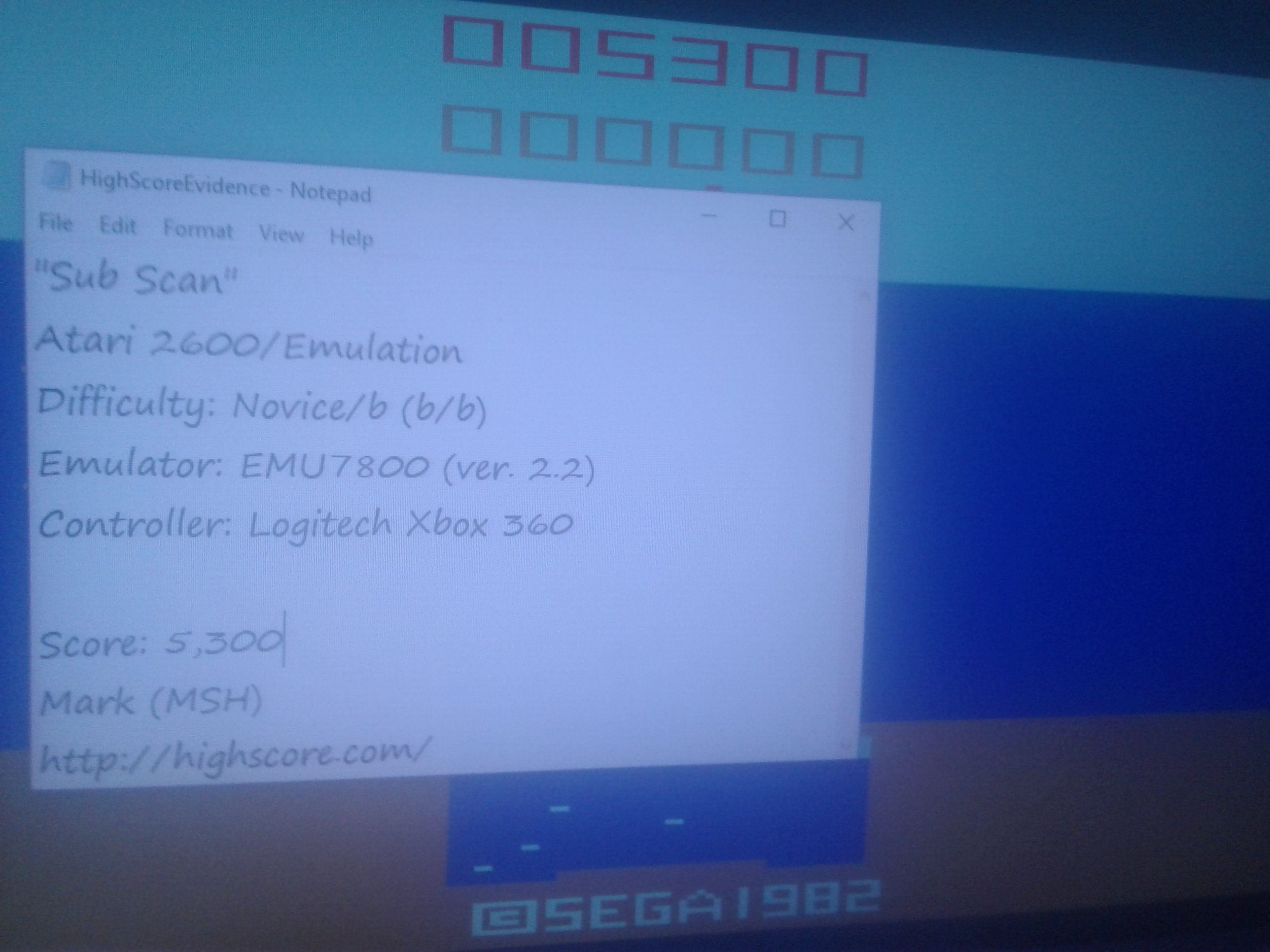 Mark: Sub Scan (Atari 2600 Emulated Novice/B Mode) 5,300 points on 2019-02-09 23:55:33