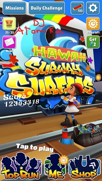 DJAtomika: Subway Surfers (Android) 12,353,318 points on 2018-05-08 14:49:22