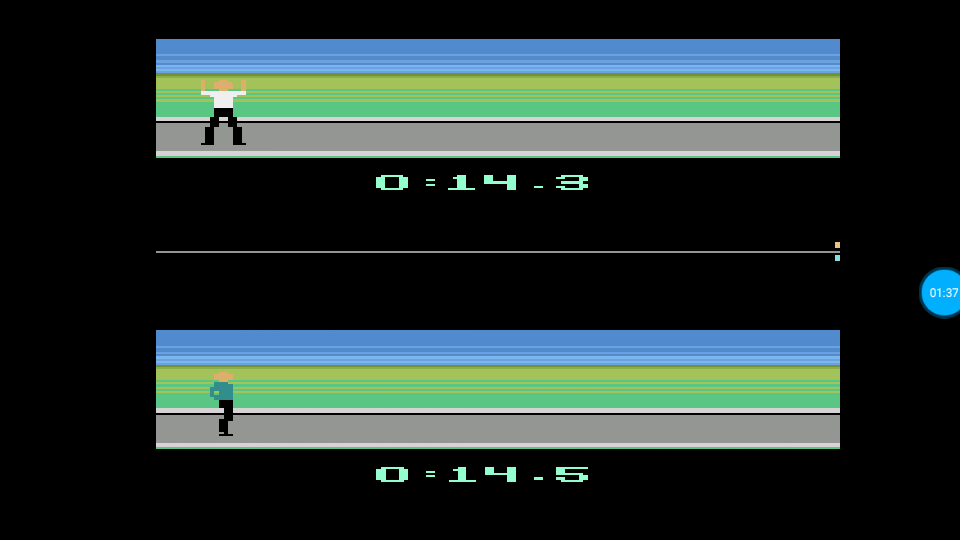 omargeddon: Summer Games: 100-Yard Dash (Atari 2600 Emulated) 0:00:14.3 points on 2018-07-14 18:20:58