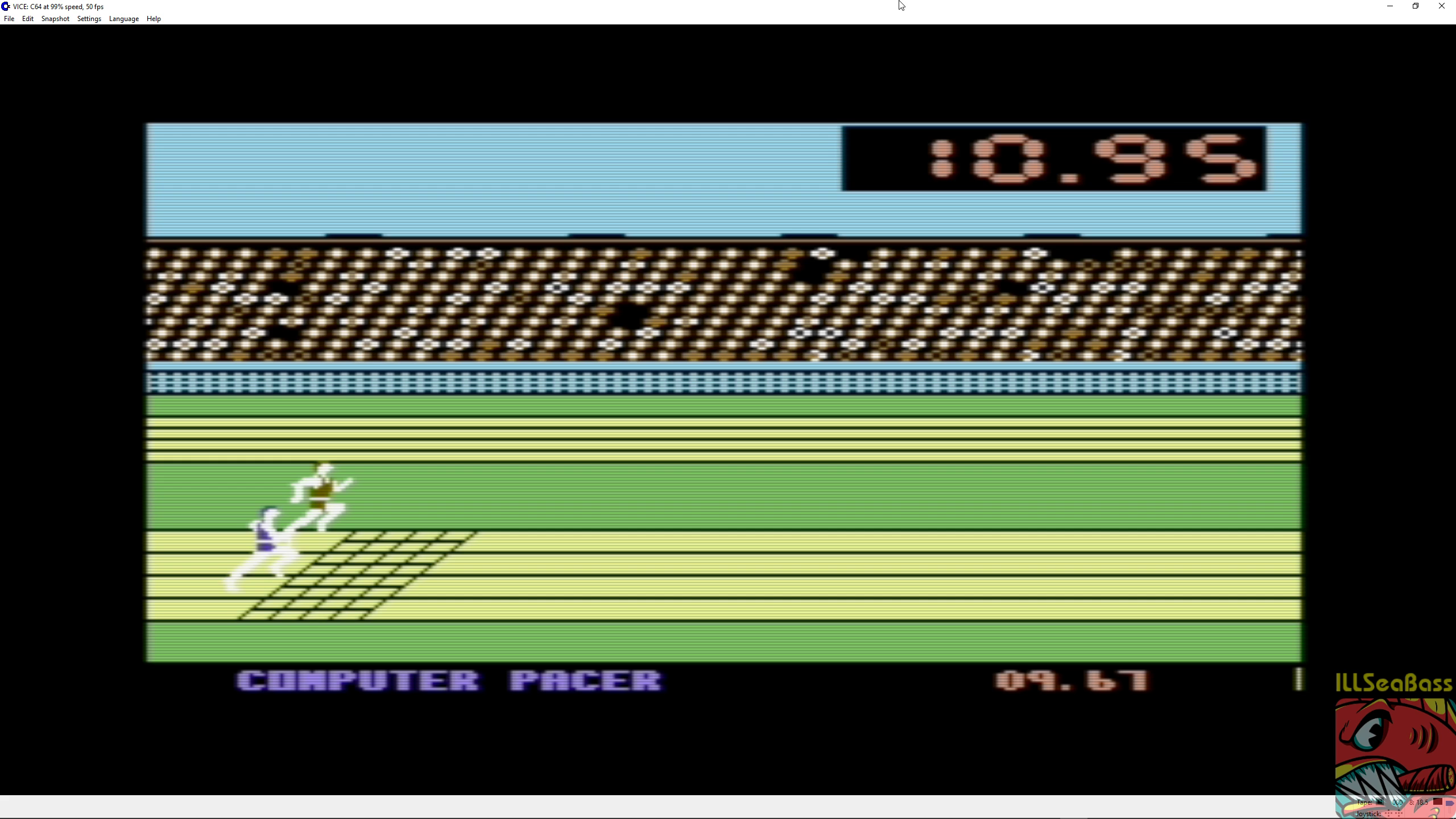 ILLSeaBass: Summer Games: 100m Dash (Commodore 64 Emulated) 0:00:09.67 points on 2018-08-27 22:33:10