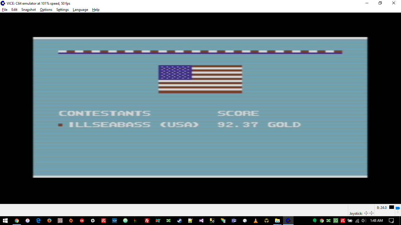 ILLSeaBass: Summer Games 2: Javelin Throw [Centimeters] (Commodore 64 Emulated) 9,237 points on 2016-11-24 00:49:54