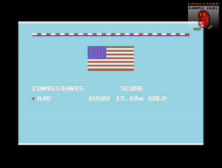 ajdoyle: Summer Games 2: Triple Jump [Centimeters] (Commodore 64 Emulated) 1,560 points on 2018-03-08 21:41:25