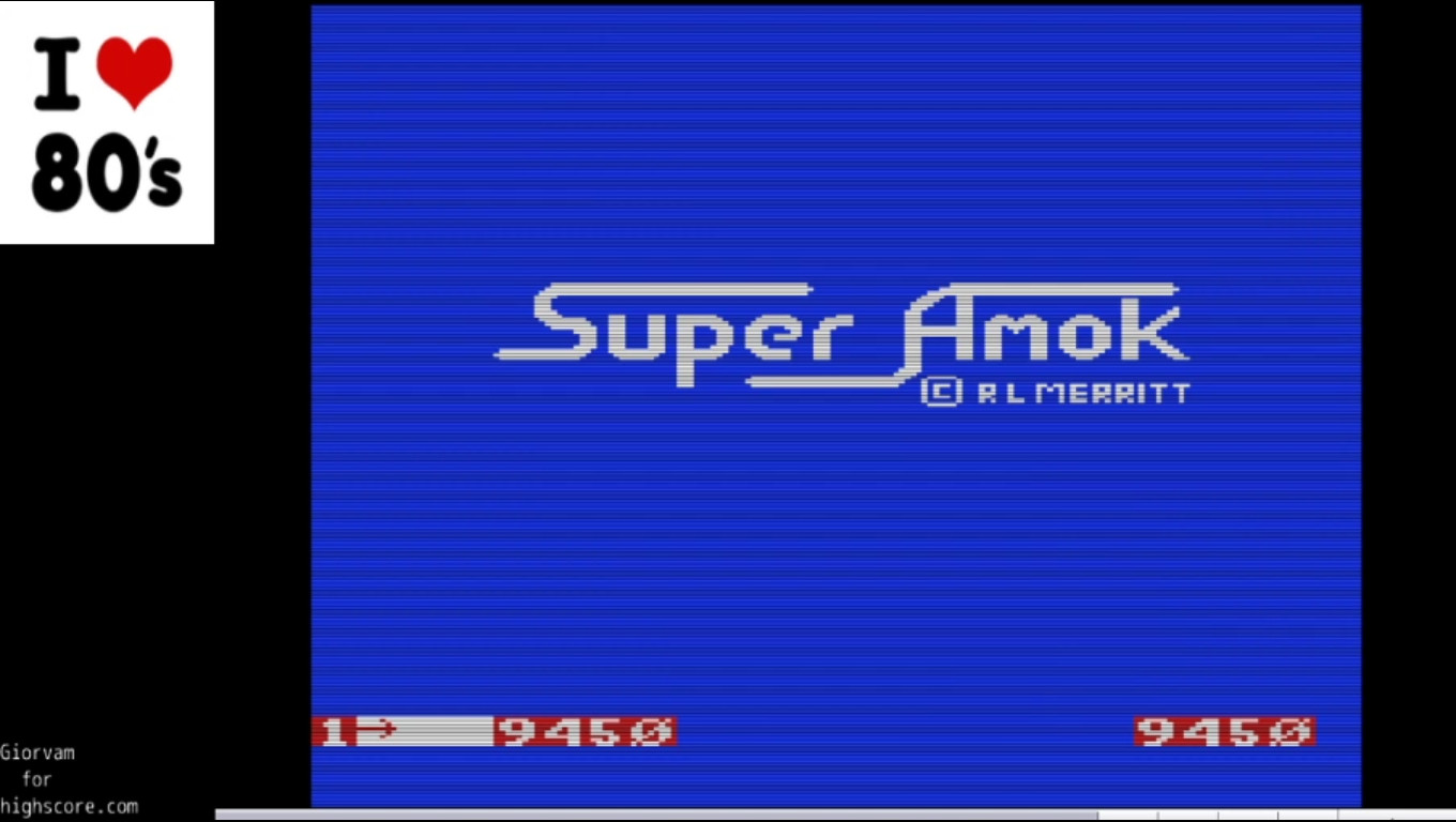 Giorvam: Super Amok (Commodore VIC-20 Emulated) 9,450 points on 2019-12-29 02:44:15