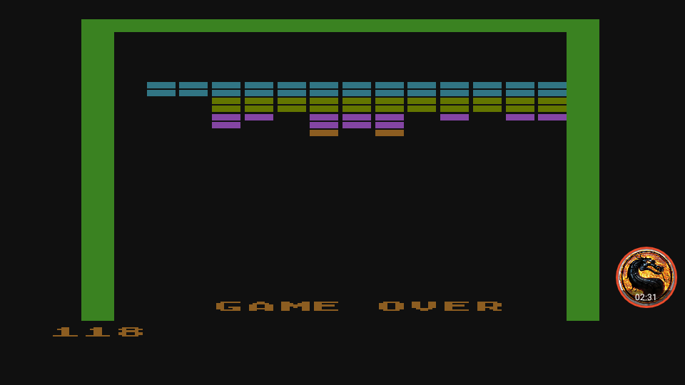 omargeddon: Super Breakout: Breakout (Atari 400/800/XL/XE Emulated) 118 points on 2019-03-20 12:02:38