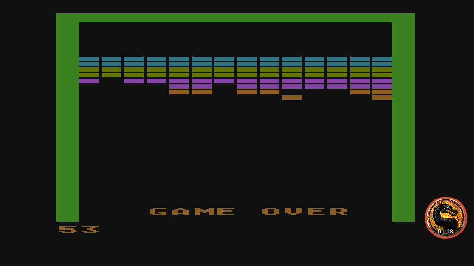 omargeddon: Super Breakout: Double (Atari 400/800/XL/XE Emulated) 53 points on 2019-03-20 12:14:32