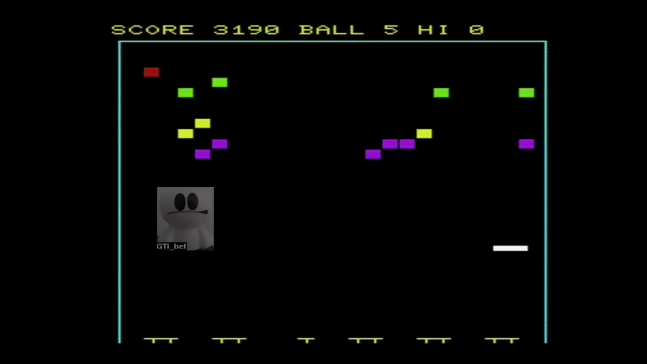 GTibel: Super Breakout [Normal] (Commodore VIC-20 Emulated) 3,190 points on 2018-02-02 10:30:24
