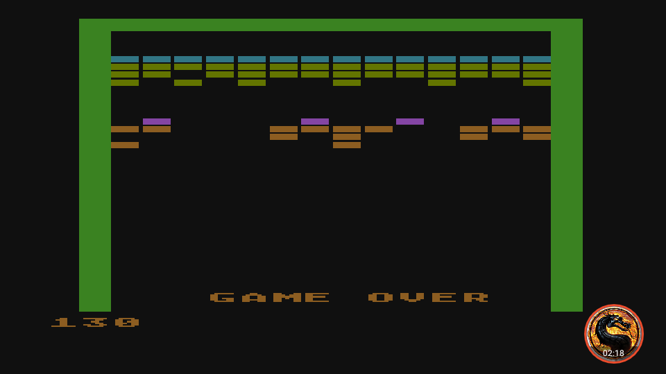 omargeddon: Super Breakout: Progressive (Atari 400/800/XL/XE Emulated) 130 points on 2019-03-20 12:03:21