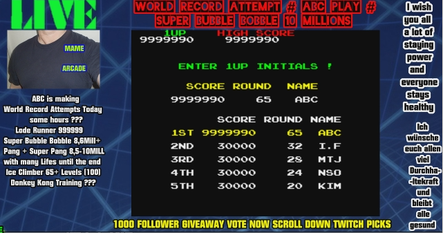 ArcadePlayerABC: Super Bubble Bobble [sboblboblc] (Arcade Emulated / M.A.M.E.) 9,999,990 points on 2020-04-12 10:25:00