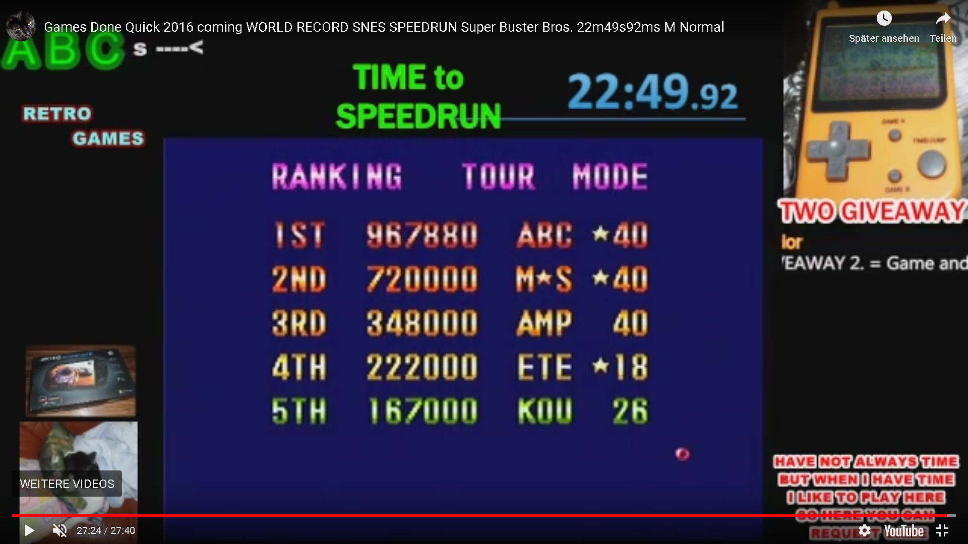 ArcadePlayerABC: Super Buster Bros: Tour Mode [Normal] (SNES/Super Famicom Emulated) 967,880 points on 2019-12-16 07:06:22