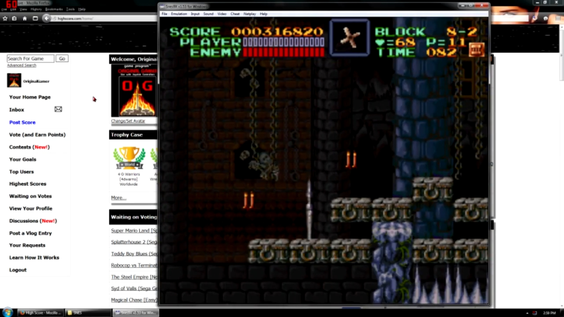 OriginalGamer: Super Castlevania IV [1 Life] (SNES/Super Famicom Emulated) 316,820 points on 2015-11-12 21:32:38