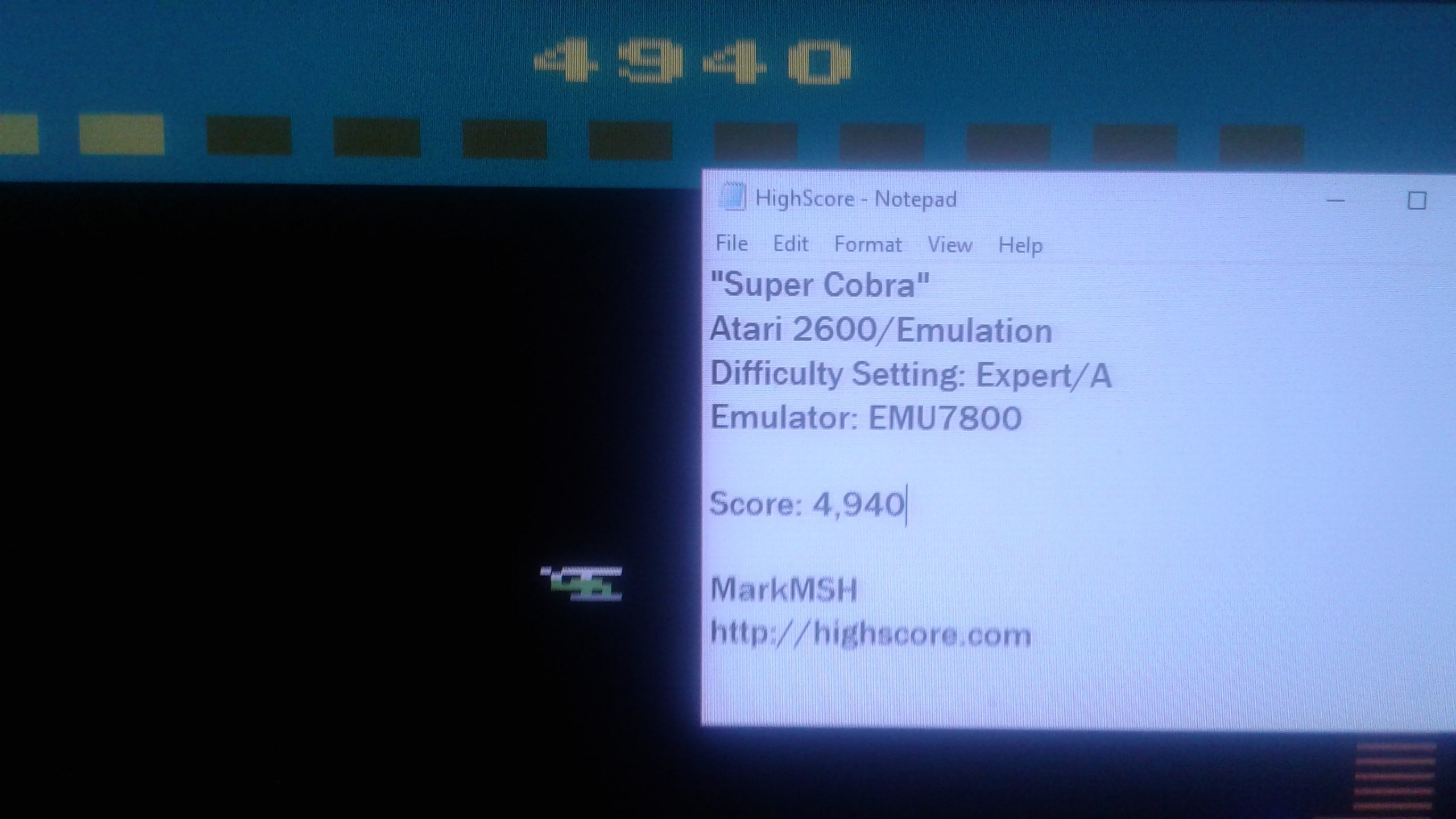 Mark: Super Cobra (Atari 2600 Emulated Expert/A Mode) 4,940 points on 2019-03-07 23:23:06