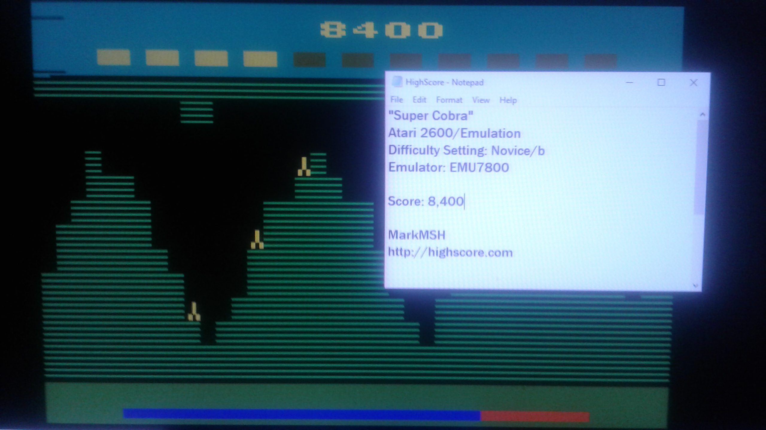 Mark: Super Cobra (Atari 2600 Emulated Novice/B Mode) 8,400 points on 2019-03-07 22:49:52