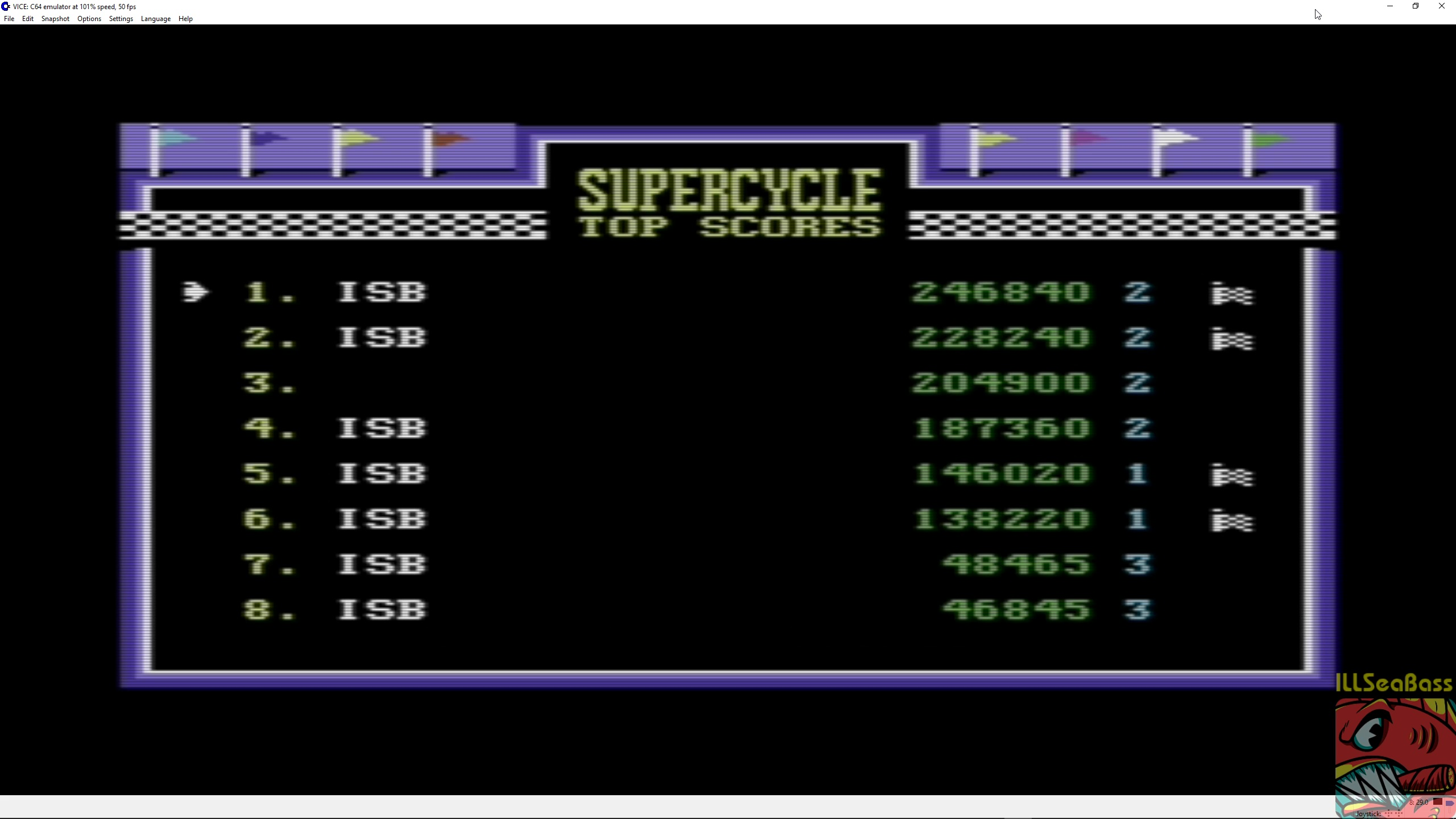 ILLSeaBass: Super Cycle [Level 2 Start] (Commodore 64 Emulated) 246,840 points on 2018-04-02 15:48:34