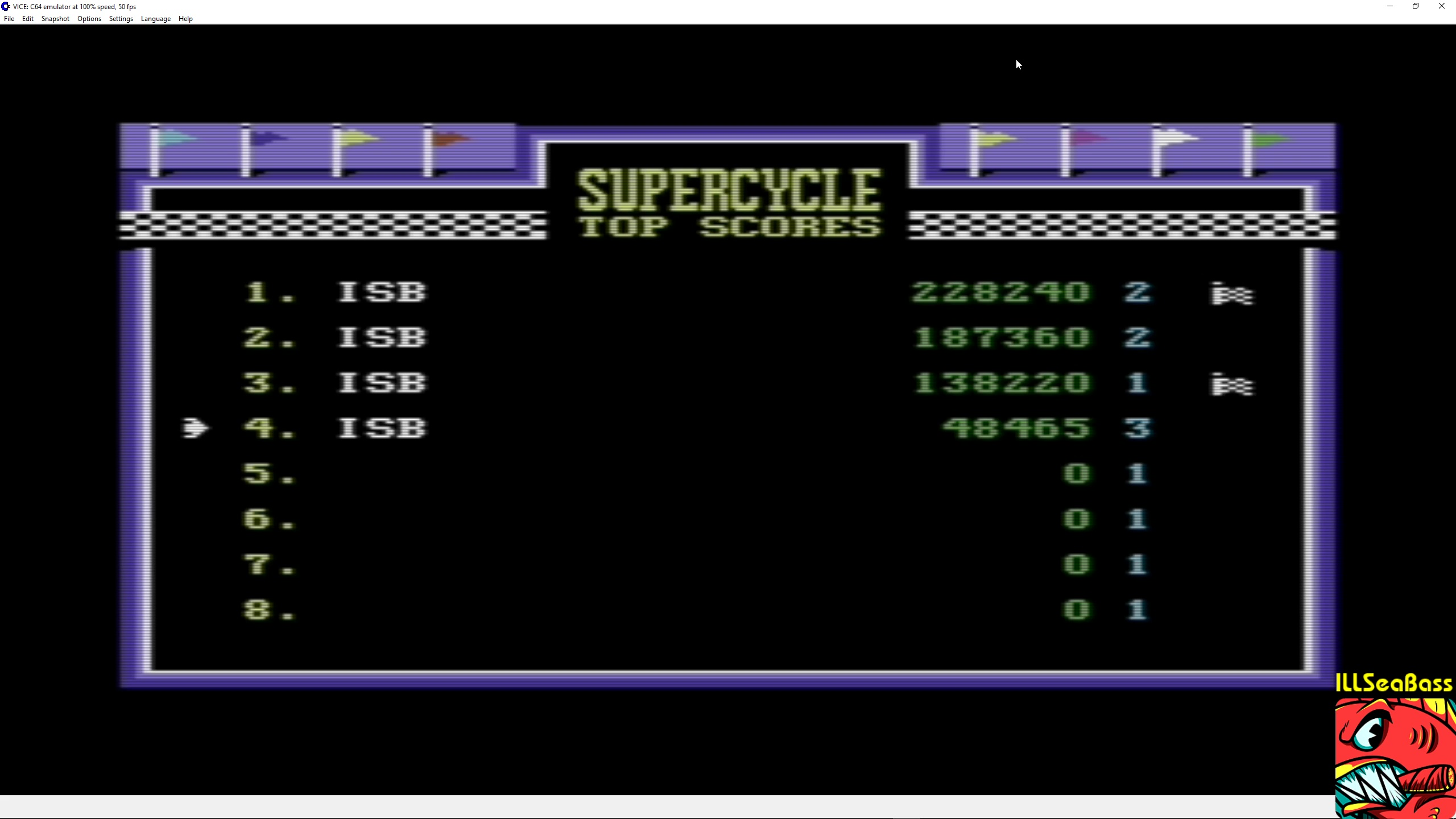 ILLSeaBass: Super Cycle [Level 3 Start] (Commodore 64 Emulated) 48,465 points on 2018-02-25 18:29:31