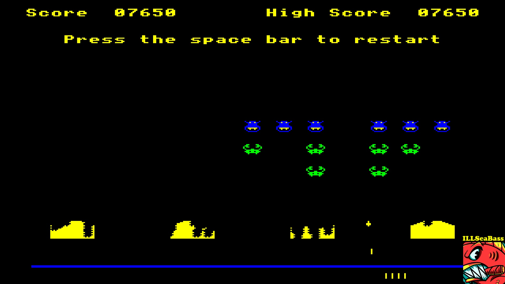 ILLSeaBass: Super Invaders [Mild Encounter] (BBC Micro Emulated) 7,650 points on 2017-10-08 14:47:03
