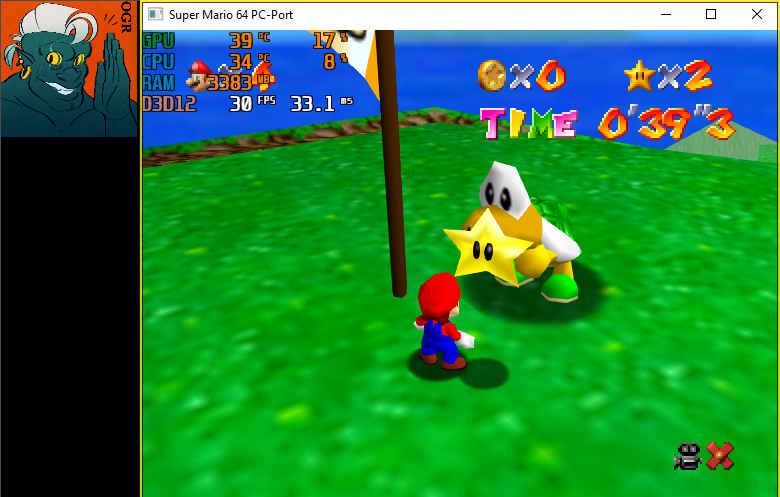 AwesomeOgre: Super Mario 64: Footrace with Koopa The Quick [Native PC Port] (PC) 0:00:39.3 points on 2020-05-08 21:49:00