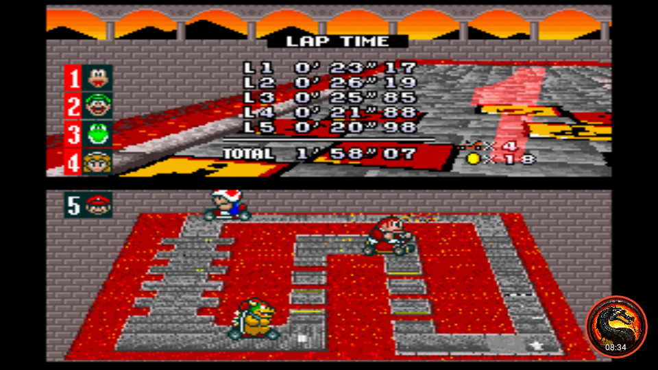 omargeddon: Super Mario Kart: Bowser Castle 1 [100cc] [Lap Time] (SNES/Super Famicom Emulated) 0:00:20.98 points on 2020-02-09 00:58:57
