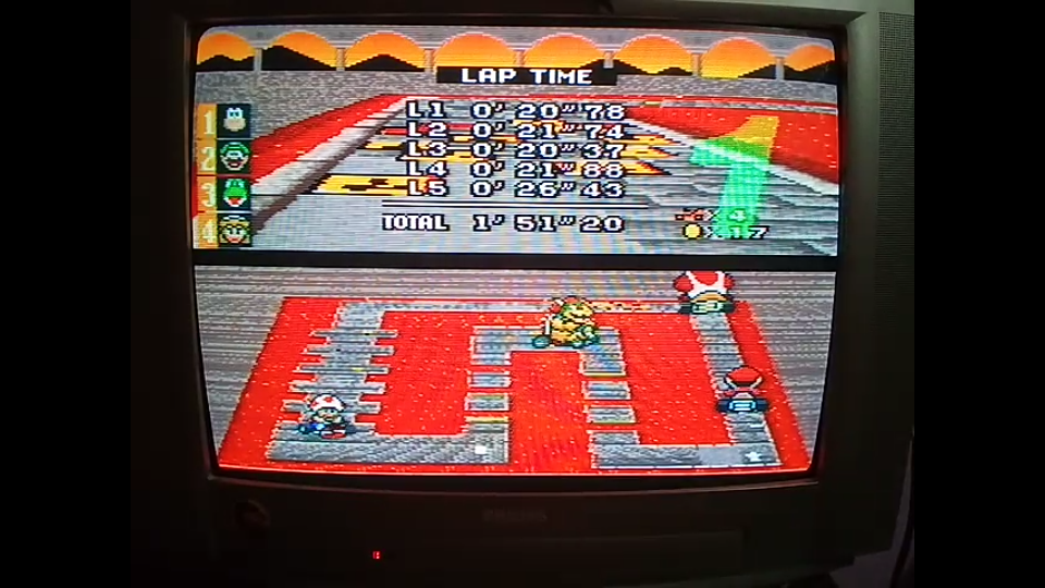 omargeddon: Super Mario Kart: Bowser Castle 1 [100cc] [Lap Time] (SNES/Super Famicom) 0:00:20.37 points on 2020-04-27 10:58:29