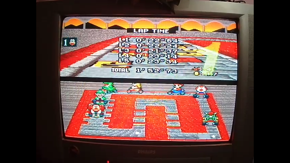 omargeddon: Super Mario Kart: Bowser Castle 1 [50cc] [Lap Time] (SNES/Super Famicom) 0:00:21.37 points on 2020-04-27 00:12:32