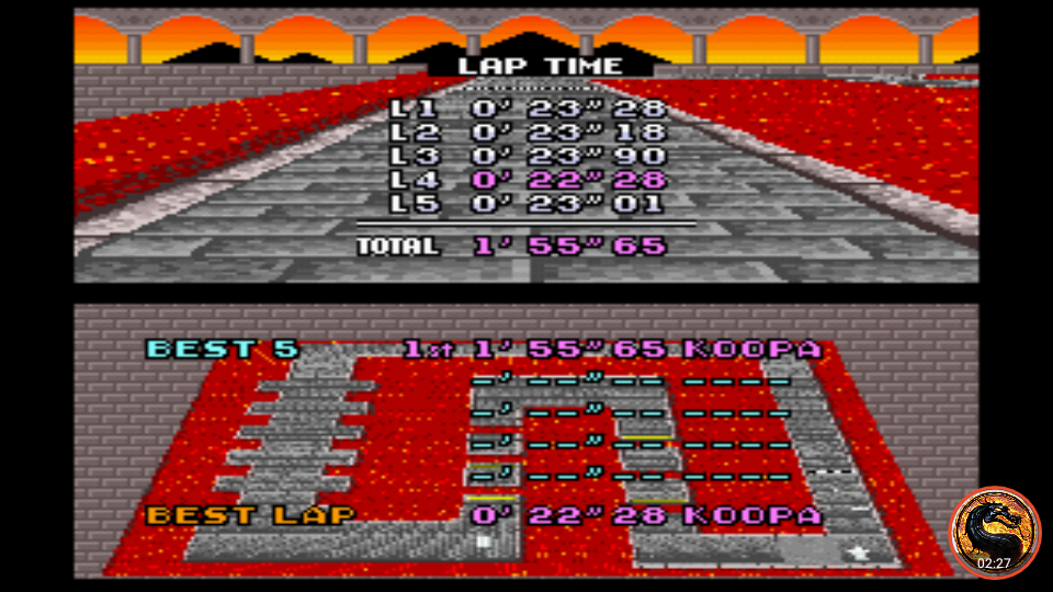 omargeddon: Super Mario Kart: Bowser Castle 1 [Time Trial] [Lap Time] (SNES/Super Famicom Emulated) 0:00:22.28 points on 2019-12-29 13:30:24