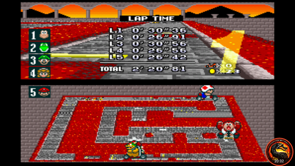 omargeddon: Super Mario Kart: Bowser Castle 2 [100cc] [Lap Time] (SNES/Super Famicom Emulated) 0:00:26.42 points on 2020-02-23 15:17:59