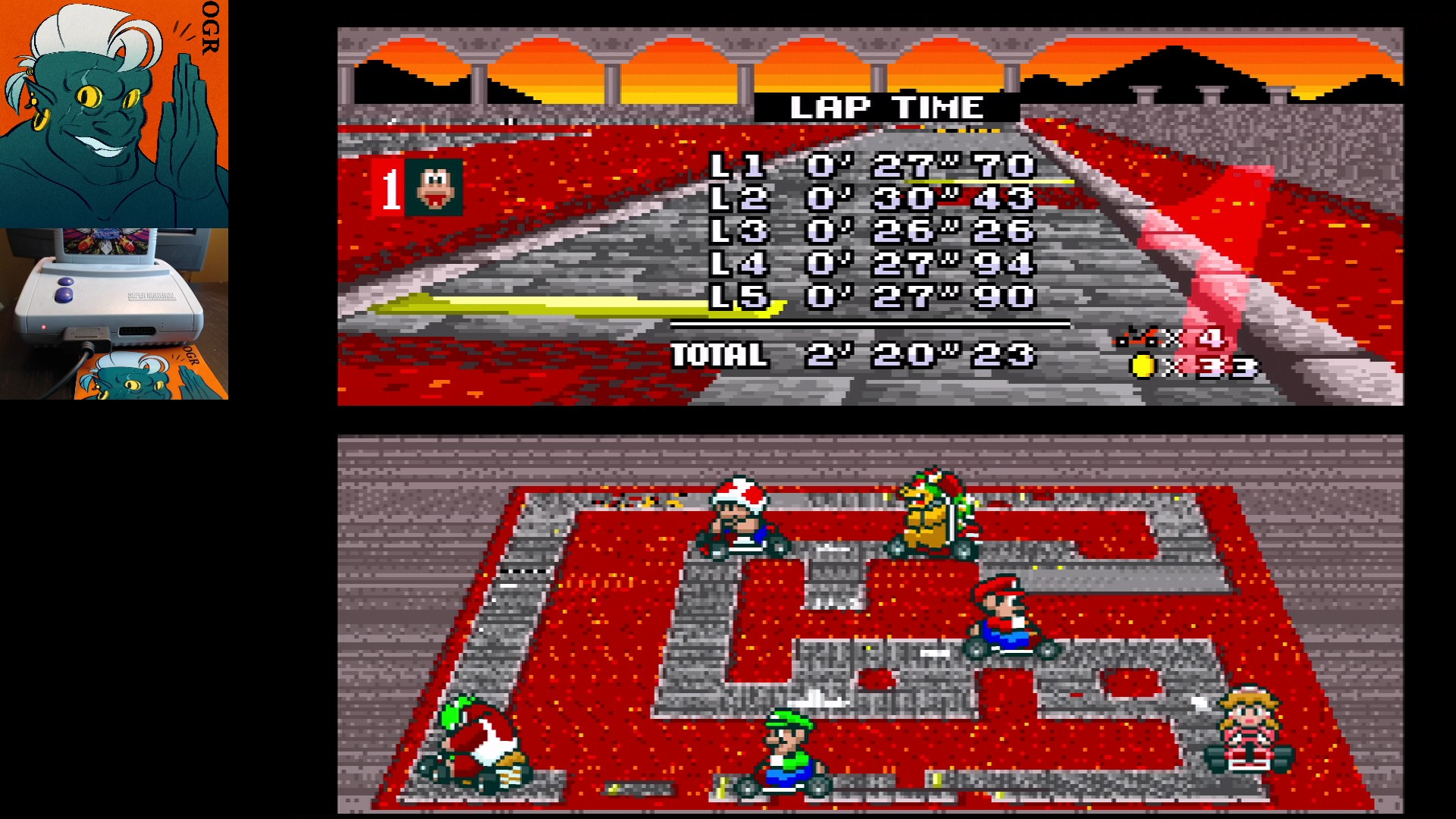 AwesomeOgre: Super Mario Kart: Bowser Castle 2 [50cc] [Lap Time] (SNES/Super Famicom) 0:00:26.26 points on 2020-04-22 20:01:09