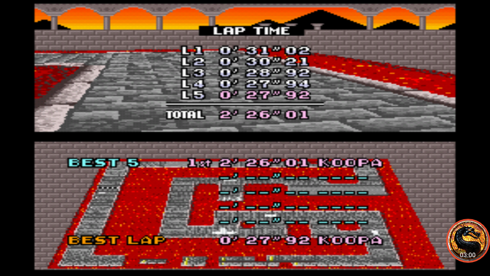 omargeddon: Super Mario Kart: Bowser Castle 2 [Time Trial] [Lap Time] (SNES/Super Famicom Emulated) 0:00:27.92 points on 2019-12-29 16:12:13