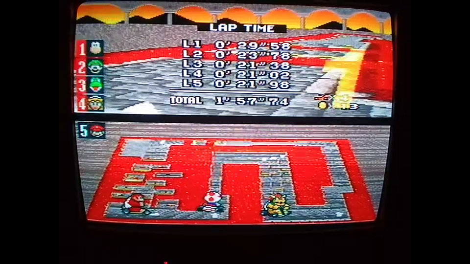 omargeddon: Super Mario Kart: Bowser Castle 3 [100cc] [Lap Time] (SNES/Super Famicom) 0:00:21.02 points on 2020-04-27 14:15:36