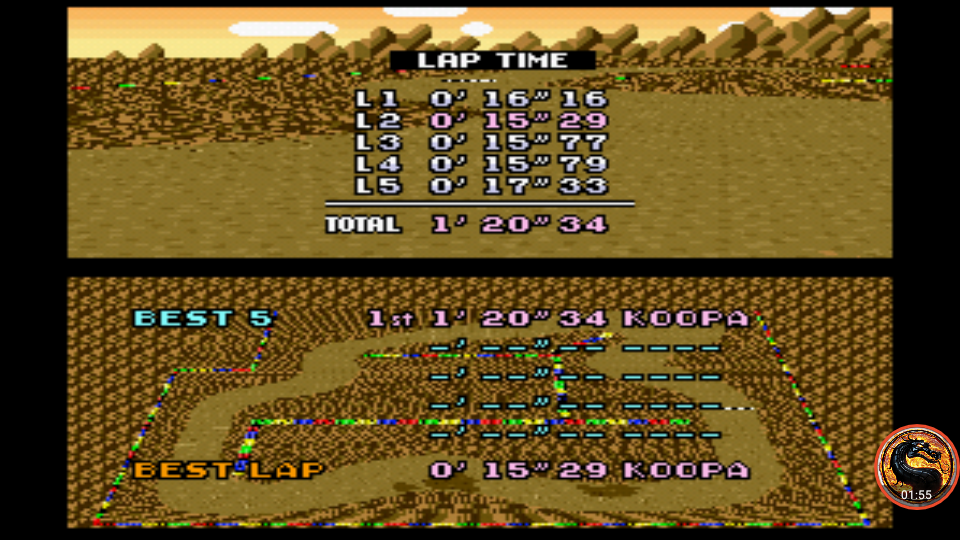 omargeddon: Super Mario Kart: Choco Island 1 [Time Trial] [Lap Time] (SNES/Super Famicom Emulated) 0:00:15.29 points on 2019-12-29 16:05:28