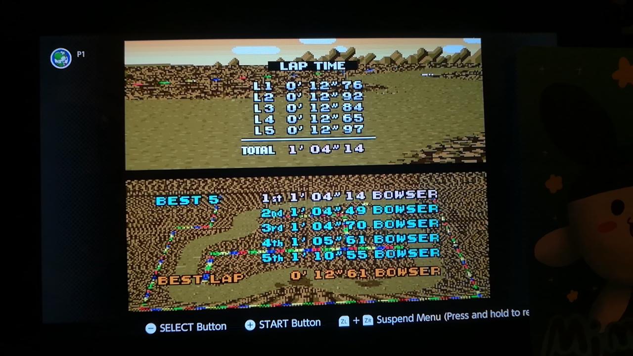 Mimitchi: Super Mario Kart: Choco Island 1 [Time Trial] (SNES/Super Famicom Emulated) 0:01:04.14 points on 2020-05-22 16:12:40