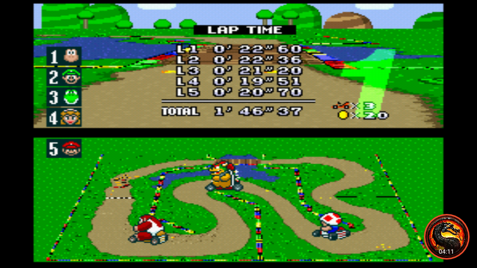 omargeddon: Super Mario Kart: Donut Plains 1 [100cc] (SNES/Super Famicom Emulated) 0:01:46.37 points on 2020-02-09 00:54:24