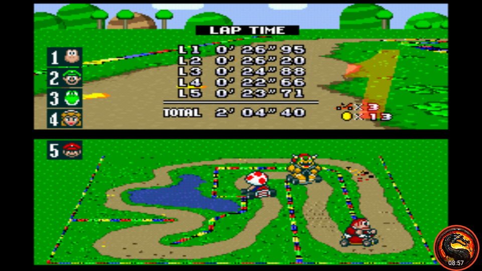 omargeddon: Super Mario Kart: Donut Plains 2 [100cc] [Lap Time] (SNES/Super Famicom Emulated) 0:00:22.66 points on 2020-02-23 15:14:33