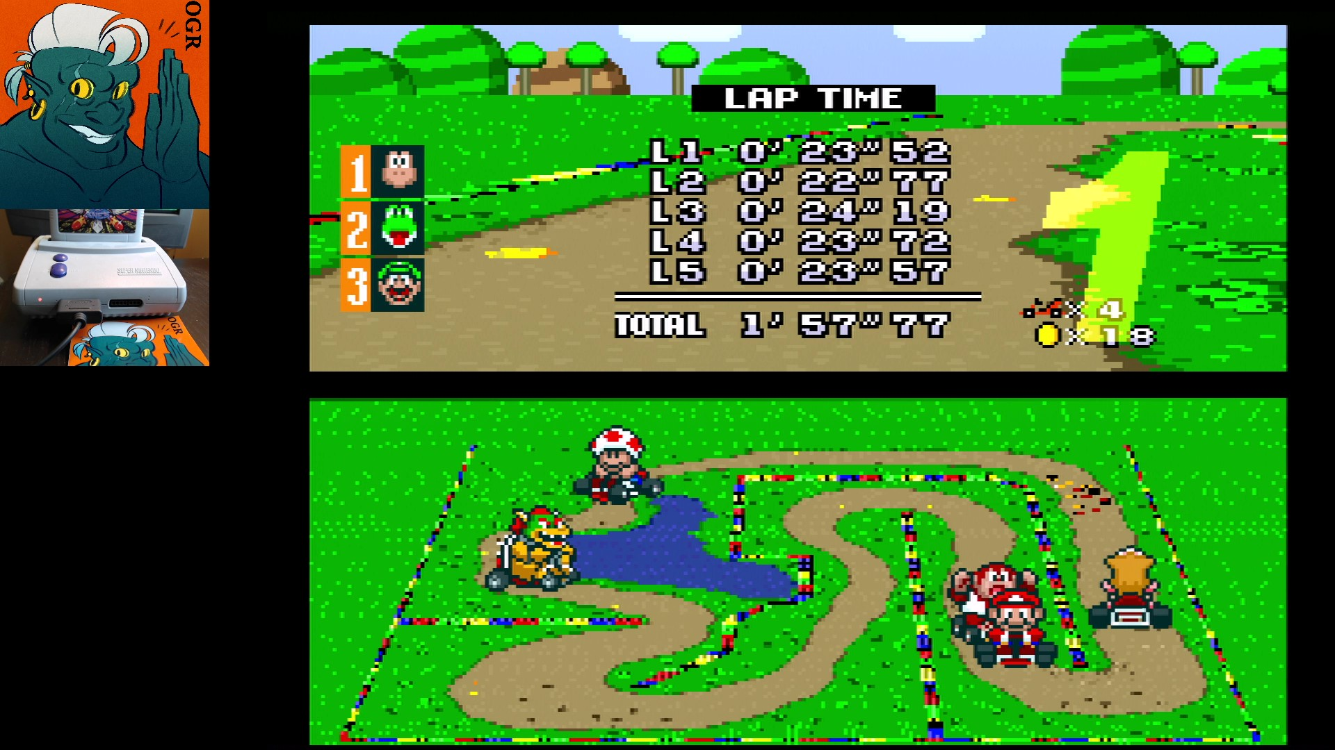 AwesomeOgre: Super Mario Kart: Donut Plains 2 [50cc] [Lap Time] (SNES/Super Famicom) 0:00:22.77 points on 2020-04-22 20:05:07