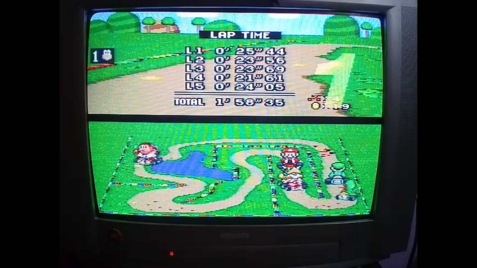 omargeddon: Super Mario Kart: Donut Plains 2 [50cc] [Lap Time] (SNES/Super Famicom) 0:00:21.61 points on 2020-04-27 00:42:28