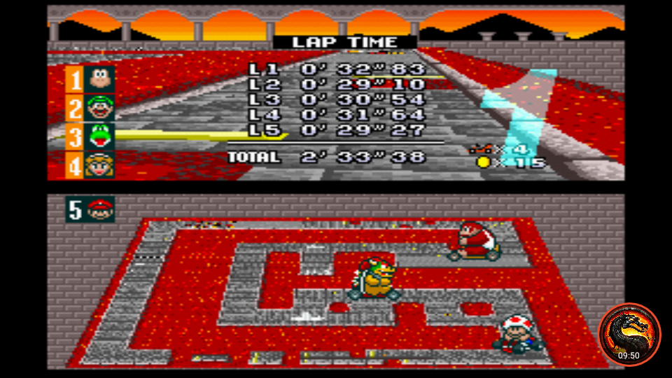 omargeddon: Super Mario Kart [Flower Cup: Bowser Castle 2: 50CC] (SNES/Super Famicom Emulated) 0:02:33.38 points on 2020-01-07 13:53:08