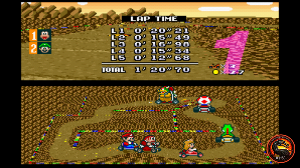 omargeddon: Super Mario Kart [Flower Cup: Choco Island 1: 50CC] (SNES/Super Famicom Emulated) 0:01:20.7 points on 2020-01-07 13:50:23