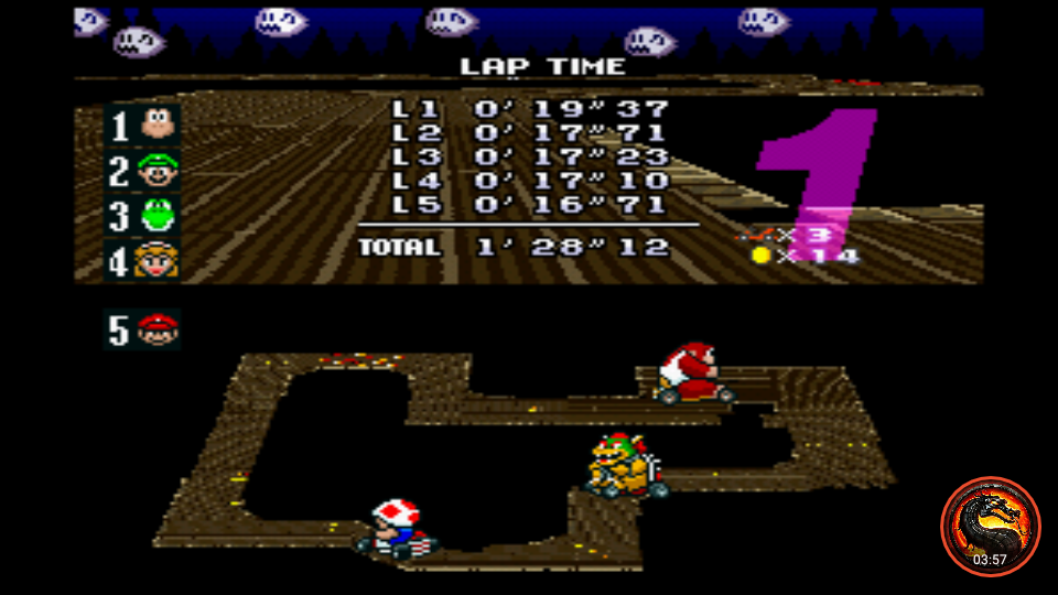 omargeddon: Super Mario Kart [Flower Cup: Ghost Valley 2: 50CC] (SNES/Super Famicom Emulated) 0:01:28.12 points on 2020-01-07 13:51:23