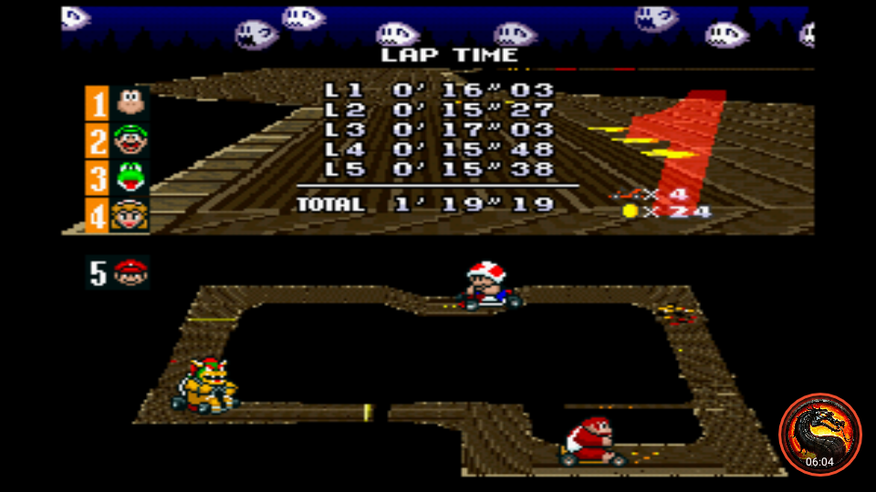 omargeddon: Super Mario Kart: Ghost Valley 1 [100cc] (SNES/Super Famicom Emulated) 0:01:19.19 points on 2020-02-09 00:56:10